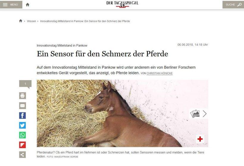"""Tagesspiegel: """"Ein Sensor für den Schmerz der Tiere"""""""